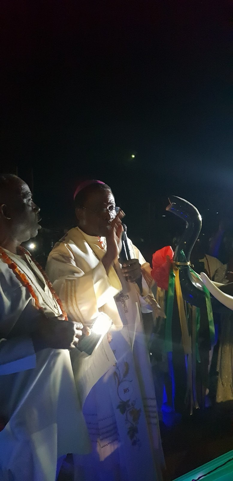A night to remember. Blessing the People of Aguleri after unveiling the Grand Statue of Bl Iwene Tansi.